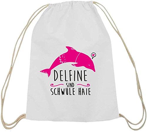 Shirtstreet24, Delfine sind schwule Haie, Baumwoll natur Turnbeutel Rucksack Sport Beutel weiß natur