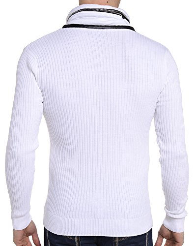 BLZ jeans - Pull blanc au col original Blanc
