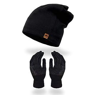 AMAKU Winter Mütze Handschuhe für Damen und Herren Warme Fleece-Skull Cap und Touchscreen Handschuhe Set