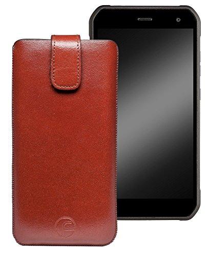 Favory Original Etui Tasche für Cyrus CS24 Leder Etui Handytasche Ledertasche Schutzhülle Case Hülle Lasche mit Rückzugfunktion* in Braun