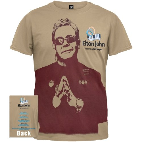 Classic-rock-konzert-tee T-shirt (Old Glory Elton John – mit Ray Cooper 2010 Tour T-Shirt Gr. Medium, Beige)