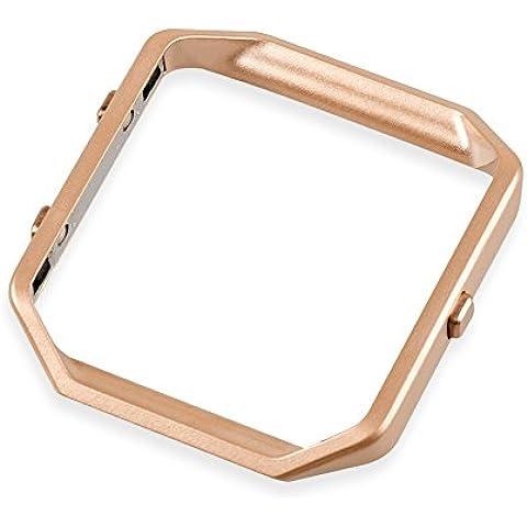 wearlizer Fitbit Blaze Marco Acero Inoxidable Marco de metal repuesto, color oro rosa