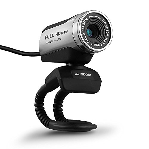 AUSDOM 1080P HD USB Webcam mit eingebautem Mikrofon, 12.0MP, Auto Belichtung, Digitalzoom, Clip-On / Freestanding Netzwerk Computer Kamera Web Cam für Laptop / Desktop / Skype / FaceTime / Youtube / Yahoo Messenger