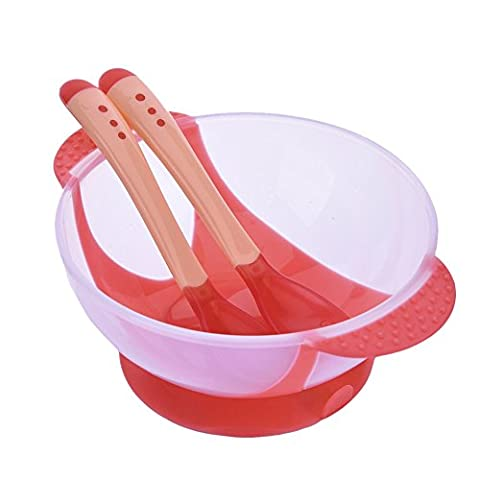 SERDA Baby Feeding Soft Silicone Suction Cup Bowl Set Slip-resistant Tableware Temperature Sensing Color Changing Flatware Baby Training Spoon