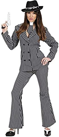 Ladies Gangster Woman Costume Large UK 14 to 16 for 20s 30s Mob Capone Bugsy Fancy Dress (Italienischen Mob Kostüm)