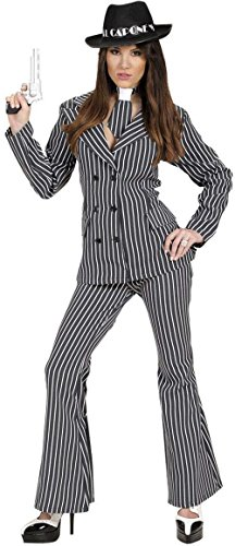 Italienische Kostüm Mob (Ladies Gangster Woman Costume Large UK 14 to 16 for 20s 30s Mob Capone Bugsy Fancy)