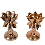 Collectible India Set Of 2 Brass Antique Finish Lotus Shape Kamal Diya Oil Lamp For Home Temple Diwali Akhand Puja Articles Decor Gifts (Size 3.8 Inch, 2Pcs)