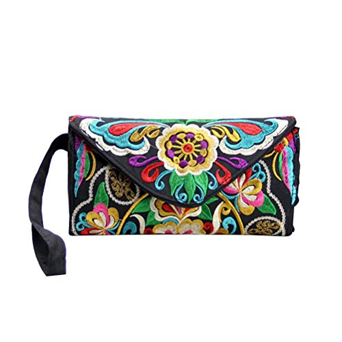 ece96090deea TENDYCOCO Portafoglio donna Ethnic Embroidery Wallet Handbag Handmade  Flower Canvas Purses Borsa retrò (modello casuale)