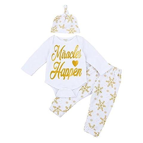 sunnymi Weihnachten Unisex 3-teilig★Junge Top+Pants+Hut Bekleidungsset Outfits Weiß★Schneeflocke Muster Newborn Baby Langarm/Geburtstag Anzug Kleidung (12 Monate)