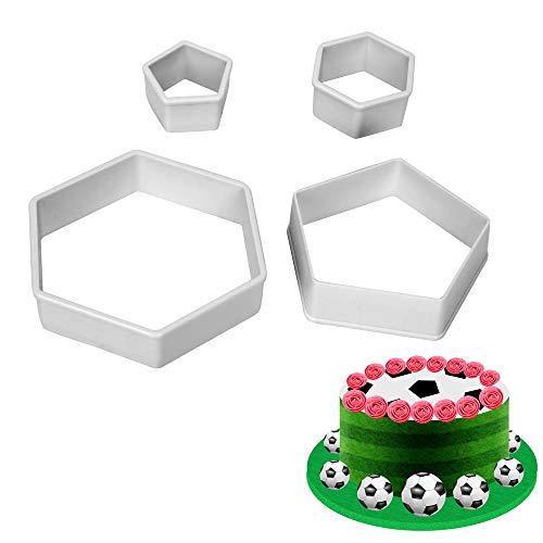 4 Stück/Set Fußball Fondant Ausstechformen Form Form Fußball Form Kuchen Form Maker Kunststoff Backgeschirr Kuchen Dekorieren Werkzeug