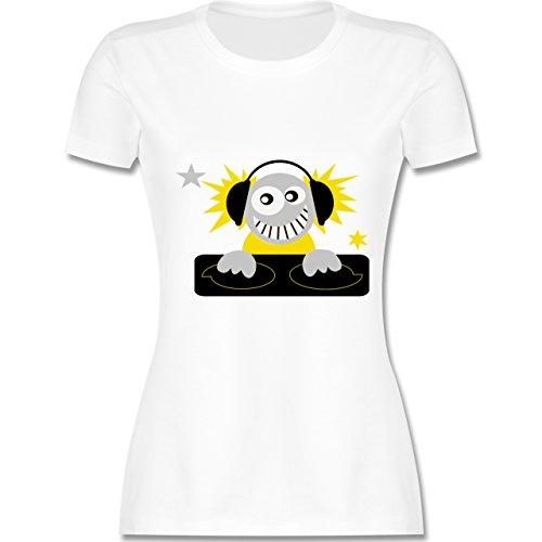 DJ Discjockey Discjockey tailliertes Premium TShirt mit Rundhalsausschnitt  für Damen Weiß