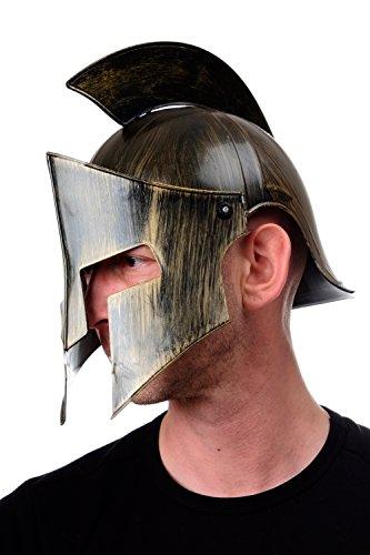 DRESS ME UP - Halloween Karneval Helm Kamm beweglicher Gesichtsschutz Rüstung Gladiator Rom Sparta Antike Bronzefarben (Perseus Halloween Kostüme)