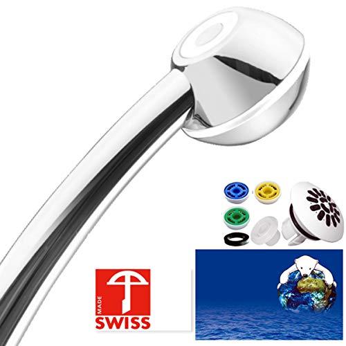 Duschkopf SwissClima I-SHOWER TOP! Kräftig für mehr Druck, zB Durchlauferhitzer und weniger Wasser: verkalkungsfreie Handbrause, Regenstrahl-Aufsatz, 3 Reduzierer, SwissMade (Poms Silberne Pom)