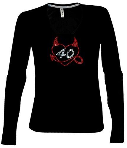 V-Neck Langarmshirt Damen zum 40. Geburtstag Herz mit Teufelshörnchen mit 40 Strass longsleeve Shirt Schwarz