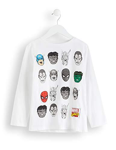 RED WAGON Jungen Marvel Avengers Comic Long Sleeves Tee Langarmshirt, Mehrfarbig (White/Navy), 116 (Herstellergröße: 6)