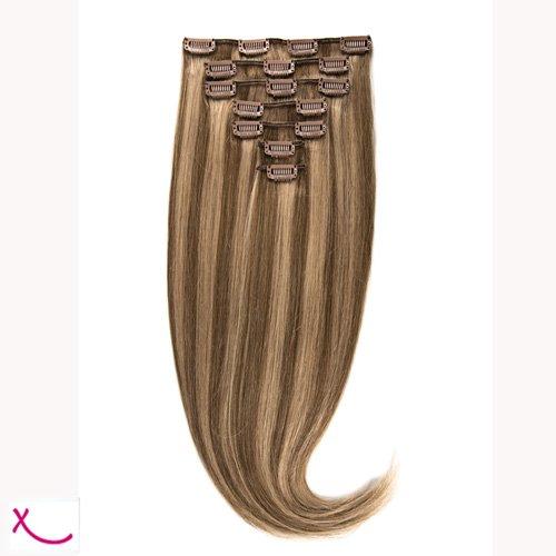 Extiff - Extensions cheveux naturel à clip - 50cm 160gr - (8/22 - Méché cendré)