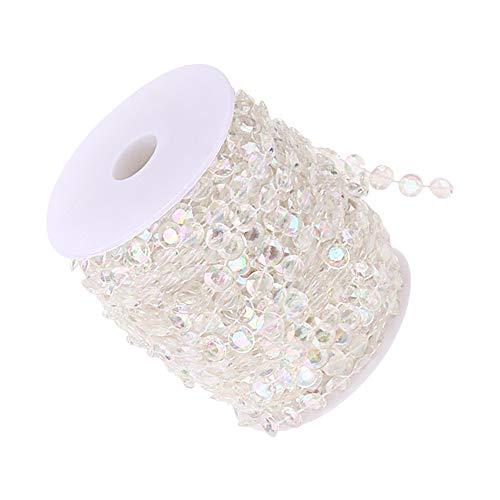 Hmm perline di cristallo acrilico trasparente iridescenza per decorazioni natalizie per feste di nozze, artigianato fai-da-te, 1 rotolo da 30 metri