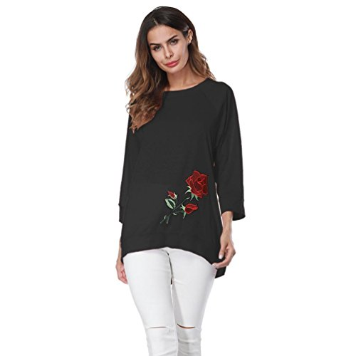 Overdose Women Top Embroidery 3/4 Sleeve Casual Blouse T-Shirt