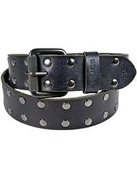 POLICE Men's Genuine Leather Belt (Satin Gun Metal Buckle) - Black