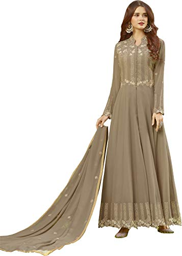 88c6b1cce0 Fashion Basket Womens Faux Georgette Anarkali Embroidered Semi Stitched  Gowns