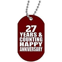 Happy 27th Anniversary 27 Years & Counting - Military Dog Tag Maroon Militär Hundemarke Weiß Silberkette ID-Anhänger - Geschenk zum Geburtstag Jahrestag Weihnachtsgeschenk