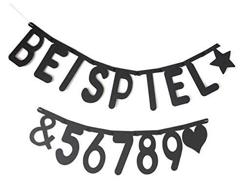 Buchstabenkette Freitext 120 Buchstaben + Zahlen, Individuell Gestaltbar für Geburtstag Party Feier Jubiläum Willkommen in Schwarz ()