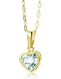 Miore Damen-Halskette Herz 375 Gelbgold 1 Topas blau 45cm