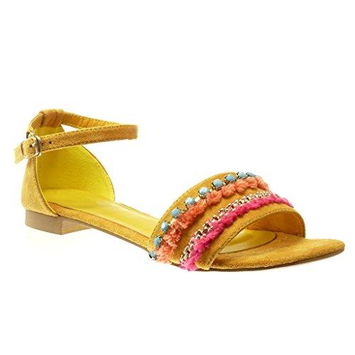 Angkorly Scarpe Moda sandali donna gioielli pon pon Tacco a blocco 1.5 CM Ingiallimento