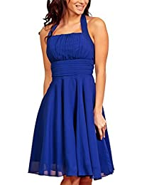Short Elegant Simple Ruffled Pleated Halterneck Cocktail Prom Bridesmaid Party Formal Dress UK Royal Blue 18