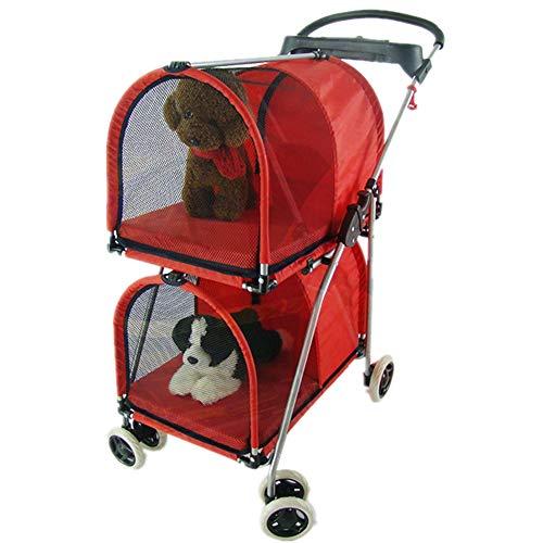 HundeWagen Jogger Buggy Hund Katze Kinderwagen Abnehmbar Große Kapazität Zwei Getrennte Räume Jede Tasche Kann 10kg Tragen,Red