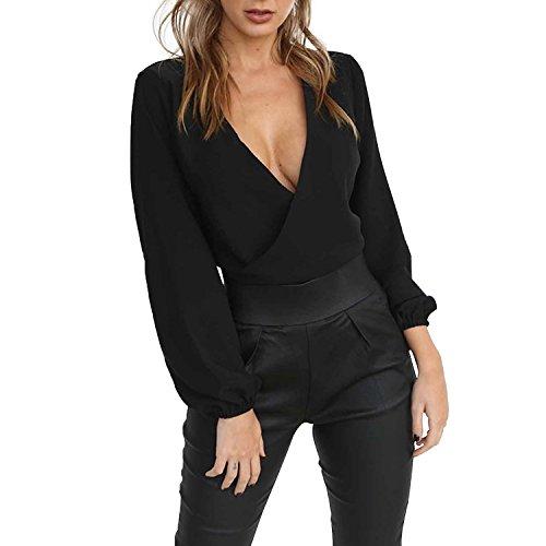 LAEMILIA Damen Crop Top Bluse Rückenfrei Tief V-Ausschnitt Clubwear Tunika mit Schleife Am Rücken Abendmode Oberteil Tops Strand Party (Top Tunika)