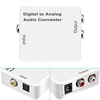 Elegiant Digital Zu Analog Audio Konverter Wandlerdecoder Optical Toslink Coax-analog Audiokonverter Adapter Cinch L R + 0,5 M Faserlichtleiterkabel + Usb Stromkabel 2