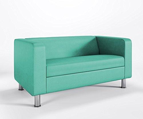 Loungesofa 2-Sitzer Cubby 4N Cocktailsofa Hotel Bürocouch Kunstleder Valencia, Farbe:V5056 - Jade