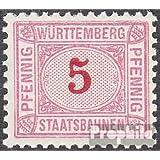 Württemberg 5 pfennig con marca de agua Cruces y Anillos 1906 Staatsbahnen (sellos para los coleccionistas)