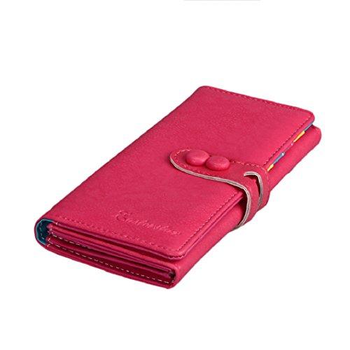 Malloom® Donna Portafoglio Lungo Borsa Moda Borsa Cuoio Ragazza Portamonete (nero) rosa caldo