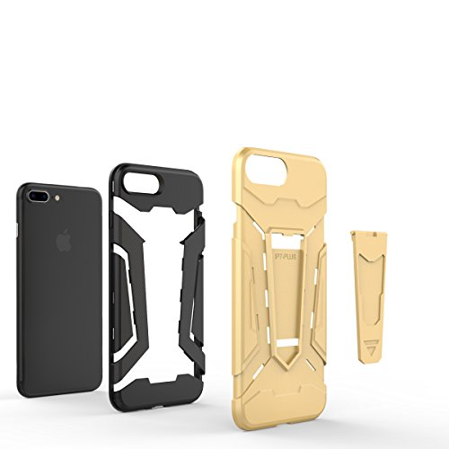 Apple iPhone 7 Plus 5.5 Coque, Voguecase [Armure Series] 2 in 1 Shockproof Hybrid Doux TPU and Hard PC Rugged Protective Rigide Plastique Shell Housse Coque Étui Avec Built-in KickSupporter(Argent) de Vert
