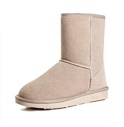 Bottes De Neige Femmes New Hot Chaussures De Neige En Cuir Dans Des Tubes Plats Femmes Bottes Sandcolor