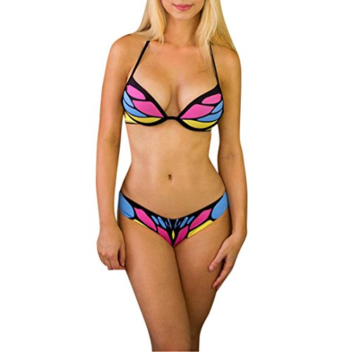 Niedrige Taille Bikini Set Damen, DoraMe Frauen Schmetterlings Print Split Badeanzug Push up Bademode 2018 Mode Neue Sommer Beachwear Causal Badehose (Rose Rot, Asien Größe L) (Schmetterlings-print, Neckholder)