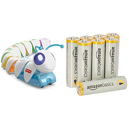 Fisher-Price DKT39 Lern-Raupe Flitzi Lernspielzeug mit Musik für logisches Denken und erstes Programmieren, ab 3 Jahren & AmazonBasics Performance Batterien Alkali, AA, 8 Stück - Fisher Price 3 Stück