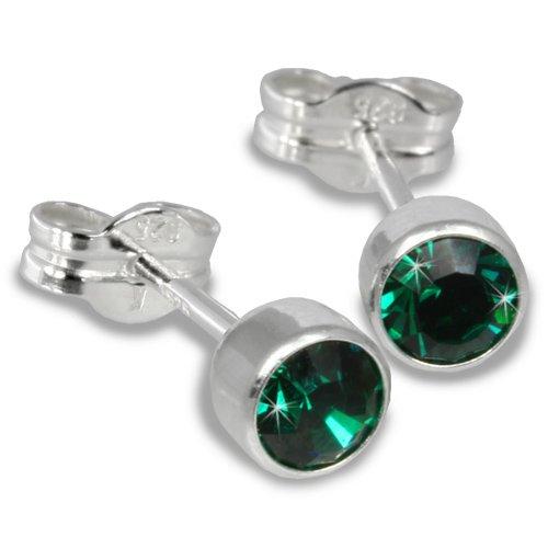 SilberDream Damen-Ohrstecker Silber mit grünem Zirkonia 925 Sterling Silber SDO503G