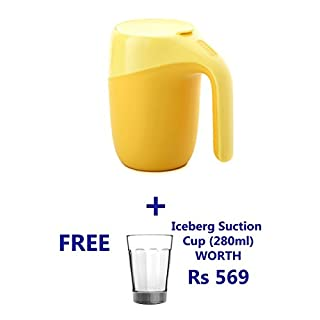 Artiart Elephant Double Walled Thermal Mug with Lid 400ml, Hot and Cool, Strong Stainless Steel/Plastic Suction Cup, Never Fall Over Travel Mug, BPA-Free -Yellow