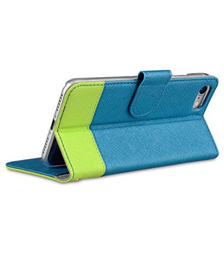 Apple Iphone 7 Melkco Elite-Serie Premium Leder-Snap zurück Tasche Tasche mit Premium-Leder Handgefertigte gute Schutz, Premium Feel-Tan See Blue Cross Muster / Green Cross Muster