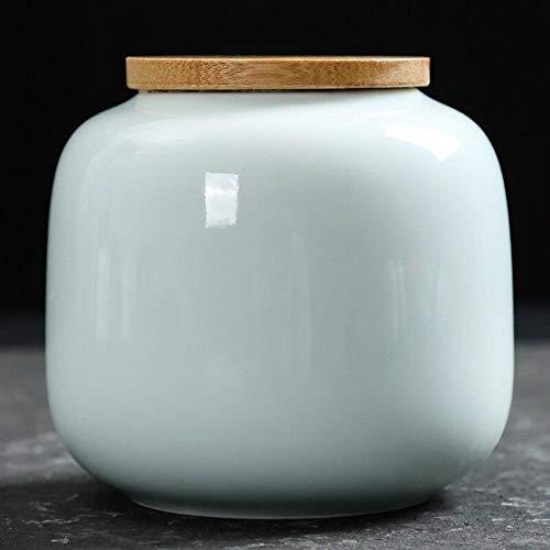 HuXwei Mini Tea canisters Tea Box Ceramic Sealed Caddy Gift Storage Jar-Celadon Big-9.4cm -