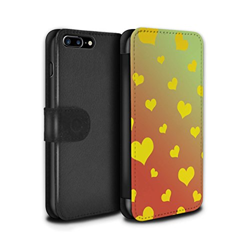 STUFF4 PU-Leder Hülle/Case/Tasche/Cover für Apple iPhone 7 Plus / Mandala/Holz Muster / Ombre Muster Kollektion Liebe Herz/Gelb