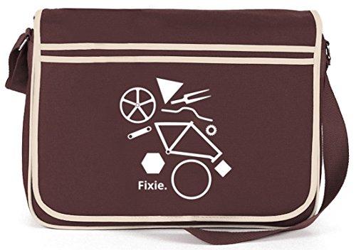 Shirtstreet24, Fixie Puzzle, Singlespeed Bike Retro Borsa A Tracolla Messenger Tracolla Marrone
