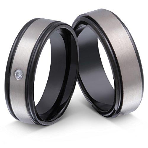 *Juwelier Schönschmied- DamenZwei schöne Verlobungsringe, Eheringe, Partnerringe mit Gratis Gravur Edelstahl Zirkonia Nr192HD*