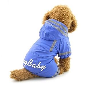 Smalllee _ Lucky _ Ranger de petits pour animal domestique imperméable étanche imperméable Combinaison à capuche en maille Cape de pluie avec crochet Bleu