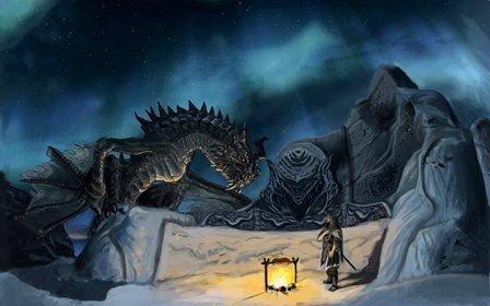 Tomorrow sunny Morgen Sunny/Art Seide Poster/Dragon Warriors The Elder Scrolls Skyrim Games Fantasy Home Dekoration Leinwand Poster, a, 36 inch x 24 inch
