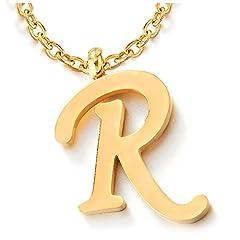 Idea Regalo - COOLSTEELANDBEYOND Nome Iniziale Lettera di Alfabeto R Ciondolo, Collana con Pendente Croce da Donna Uomo, Acciaio Color Oro, 50cm Corda Catena
