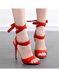 Lh$yu Sandalias de Mujer Womens Señoras Sandal Tamaño Rojo Nuevo Encaje hasta Fluff Fur Tobillo Strap Stiletto...